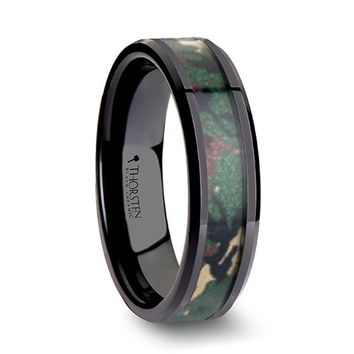Mens Black Ceramic Camouflage Wedding Band