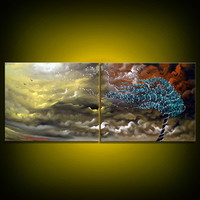 tree painting cloud stars blowing wind landscape large by mattsart