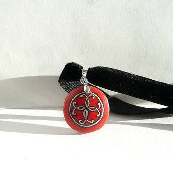 Hand Painted Unique Choker, Red Necklace, Black Velvet Choker Necklace, Ribbon Necklace, Red Jewelry Valentine's Day, Handcrafted by Artdora