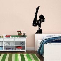Vinyl Decal Sport Beautiful Gymnast Girl Sportswoman Home Wall Decor Sticker Mural Unique Design Children Kids for Any Room V725