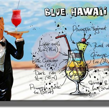 Blue Hawaii Waiter Drink Picture on Stretched Canvas, Wall Art Decor, Ready to Hang!