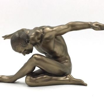 Male Nude Bowing Over Crossed Legs with Arms Outstretched Statue 10.5L