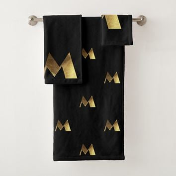 Monogram M Black and Gold Look Elegant Typography Bath Towel Set