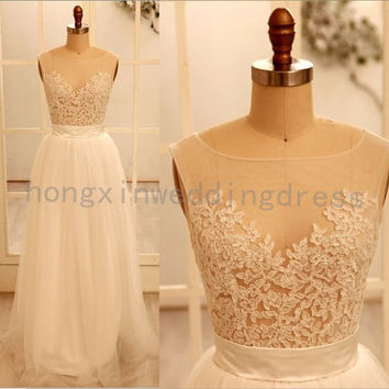 A line Round Necklace Lace Wedding Dresses, Deep V Back neck, cheap wedding Dresses, Cheap Prom Dresses, Wedding Dress Bridal Gowns 2014