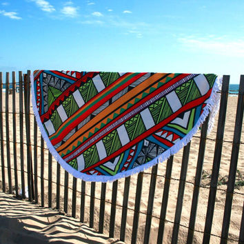 The Tropicana round beach towel, Tropical round beach towel with fringe, Tribal beach towel, Bohemian Round beach towel, Boho beach towel