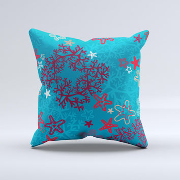Colorful Blue and Red Starfish Shapes ink-Fuzed Decorative Throw Pillow