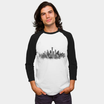 Seattle Black And White Baseball Tee By Monn Design By Humans