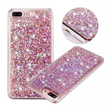 iPhone 6s Plus case,iphone 6 Plus case, liujie Liquid, Cool Quicksand Moving Stars Bling Glitter Floating Dynamic Flowing Case Liquid Cover for Iphone 6 Plus 5.5 inch(Christmas pink)