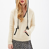 FOREVER 21 Purl Knit Hooded Sweater Cream/Black