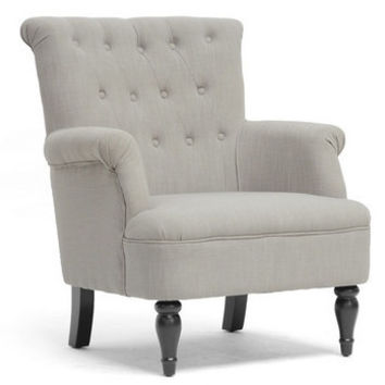 Crenshaw Light Gray Linen Modern Club Chair