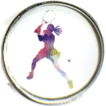 Female Tennis Player Colorful Silhouette Snap Charm 18MM - 20MM Snap Charm for Snap Jewelry New Item