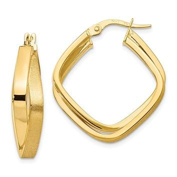 14k Yellow Gold Polished Square Hoop Earrings