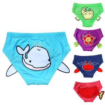 Cute Cartoon Animal Flowers Kids Children Swimming Triangle Briefs Suit Swim Pool Beach Wear Trunks Swimwear Swimsuit Boys Girls
