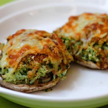Recipes - Portobello Mushrooms Stuffed With Spinach and Rice