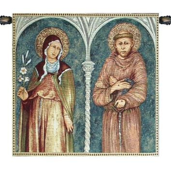 Saint Francis and Saint Clare Tapestry Wall Hanging