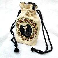 Odin's Ravens Bag -Dice Bag, Tarot Bag, Accessory Bag, Gaming Bag, Pagan, Norse, Viking, Odin, Raven, Huginn, Muninn