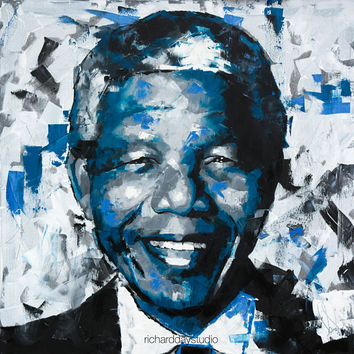 "Nelson Mandela, Original Oil Painting,30"",40"",52"", Abstract, Palette Knife, Activist, President, South Africa, Canvas, Portrait, Richard Day"