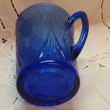 Antique RARE Cobalt Blue Cabbage Rose Pattern Pitcher 1930s, BEAUTIFUL design, Perfect in every way except for chip on lip of spout