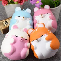 Besegad Cute Kawaii Soft Squishy Squishi Colorful Simulation Hamster Toy Slow Rising for Relieves Stress Anxiety Home Decoration
