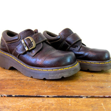 Doc Martens Low Top Ankle Boots Brown Leather Chunky Grunge 90s Hipster Steampunk Dr Martens Buckled Boots Women's 1990s DM's SIZE USA 7