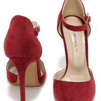 Got it Bad Wine Red Suede Ankle Strap Heels