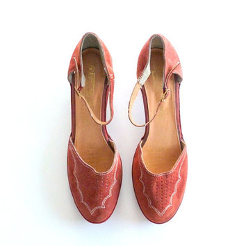 Rust Red Suede Shoes Leather Mary Janes Medium Heel Ankle Strap Shoe Sz 10B Sears The Shoe Place