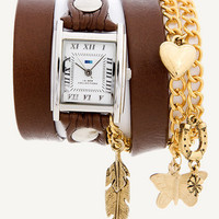 La Mer Collection - Brown - Gold Nature - Chain / Charm Wrap Watch