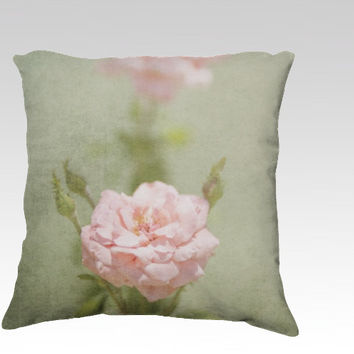 Shabby Rose - Throw Pillow - green, classic, distressed, rustic, cottage, chic, style, pattern, pink, decor, sofa, photography
