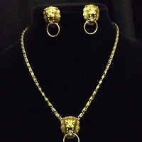 Lion doorknocker bronze necklace and earrings set