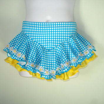 "Figure Skating Skirt Girls XS (Waist 18""-21"") Blue Gingham, Yellow Underskirt, Daisy Trim, Attached Brief, Ice Skater Skirt Dress"