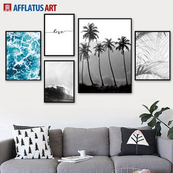 Sea Forest Palm Tree Landscape Love Wall Art Canvas Painting Nordic Posters And Prints Decoration Pictures For Living Room Decor