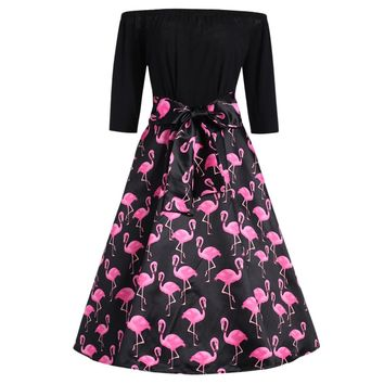 Plus Size Flamingo Printed Off The Shoulder Reto Dress