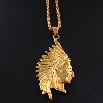 Fashion NEW Golden GP Jewelry Gold Tone Native American Indian Chief Head Portrait Pendant Charm