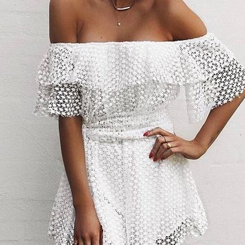 Fashion Playsuit Summer Women Casual Off Shoulder