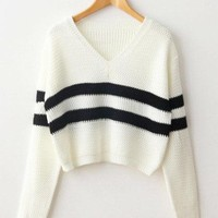Double Stripe Cropped Sweater 4 Colors