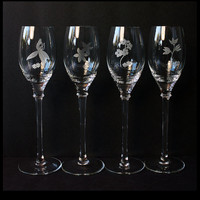 Champagne Glasses, Etched Floral Designs, Hand Blown Crystal
