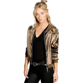SIF Vintage Solid Polyster Patch Designs Sequins Baseball Bomber Zipper Jacket Coat Pilots Trendy Women Outwear Top 2 Colors