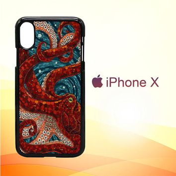 Kraken Octopus Stained Glass L1586 iPhone X Case
