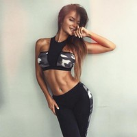 2017 New Camouflage Patchwork Tracksuit Crop Top Tanks And Leggings Sporting Skinny Clothing 2 Pieces Hollow Women Clothing
