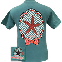 Girlie Girl Originals Preppy Starfish Anchor Bow Comfort Color Seafoam Bright T Shirt