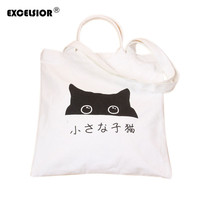 Women Cute Cotton Canvas Handbag Daily Shopping Tote Single Shoulder Bags Bag Cartoon Cats Printed G0877