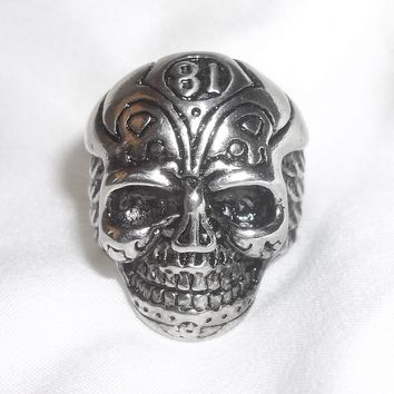 "Winged Skull  ""81"" Stainless Steel Biker Goth Rocker Ring (size 7 1/2)"