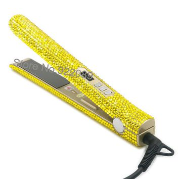 LCD Digital Dispaly  Bling  Bling Crystal Flat Irons Diamond Hair Staighteners Hair Styling tools