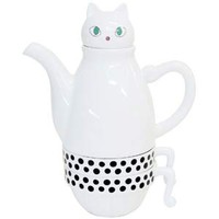White Cat Tea For Two -- Tea Cup & Tea Pot Set
