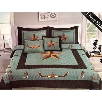 Western Rustic Turquoise Longhorn Star & Boots Bedspread Quilt - 5 Piece Set