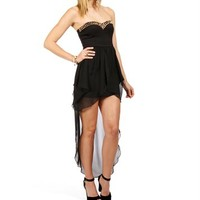Black Spike Strapless Wrap Dress