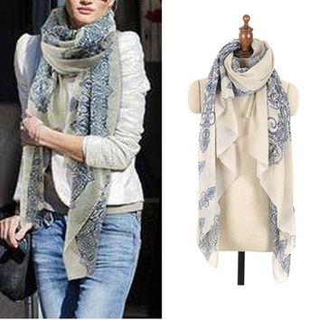 High quality Blue and White Porcelain Style Scarf