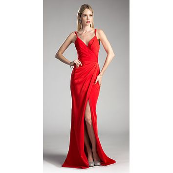 Red Pleated Long Formal Dress Spaghetti Strap with Slit