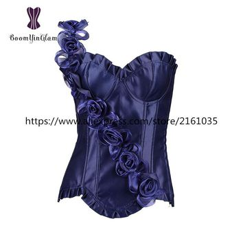 806# Free shipment high quality fashion design floral strap women corset bustier wedding dress corsets