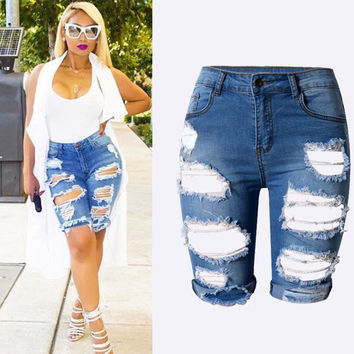 Plus size Women's Sexy Ripped Hole Washed Distressed Midi Short Jeans Hight Waist Slim Stretchy Denim Shorts